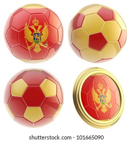 Montenegro football team set of four soccer ball attributes isolated on white