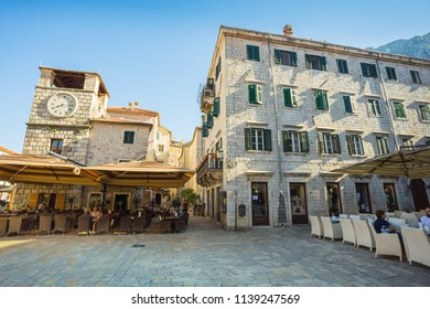 Montenegro, July 27, 2017. Streets of the Old City of Kotor
