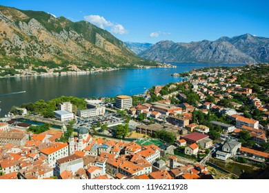 Montenegro. July 27, 2017. Top view of the Bay of Kotor and the old town. Europe. Montenegro