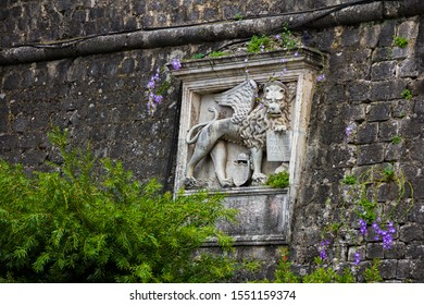 Montenegro, Kotor, 09 October, 2019. The Town Of Kotor. Bs-relief on old Kotor walls near the entrance (sea gate) to the old town . UNESCO town.