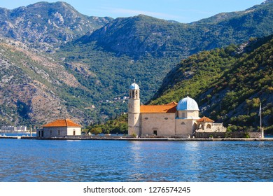 Montenegro, Kotor Bay. Beautiful church on the island, Madonna on the reef, near the city of Perast in Montenegro.