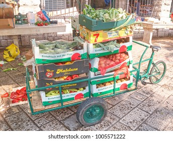 Montenegro, Kotor - September 14, 2009: Bike with vegetables on the streets of the old town of Kotor, Montenegro