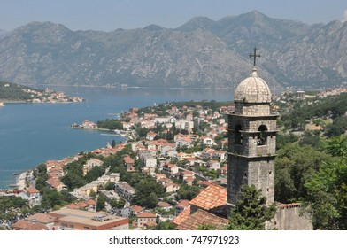 Montenegro Kotor tower landscape of the Boka Kotor bay in sunny day