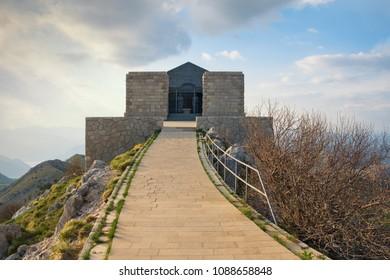 Montenegro, Lovcen National Park . Building of Mausoleum of Petar II Petrovic Njegos