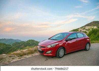 MONTENEGRO - MAY 31/2017: the car is parked by tourists on the roadside of serpentine for sightseeing.