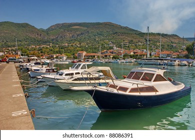 Montenegro. Motor boats in the bay of  town Tivat.