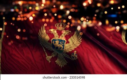 Montenegro National Flag Light Night Bokeh Abstract Background