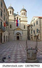 Montenegro, Old Town of Kotor - UNESCO World Heritage site.  Winter view of Serbian Orthodox Church of St. Nicholas and Square  of St Luke
