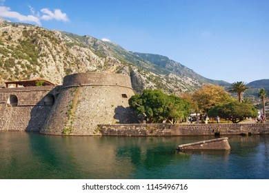 Montenegro.  Old Town of Kotor, UNESCO-World Heritage Site.  View of Kampana Tower and Skurda river