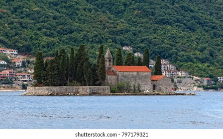 Montenegro, Perast - August 13, 2017: Island of Saint George (dead island) is one of the two islets off the coast of Perast in Bay of Kotor