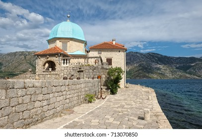Montenegro, Perast, Temple of the Mother of God on the Reef in located on the man-made island in the Bay of Kotor, 1630
