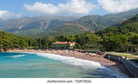 Montenegro, Przno - August 12, 2017: View of the beaches and four-star hotel Kraljicina Plaza near the island of Sveti Stefan