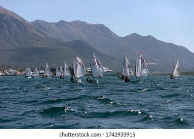 Montenegro, Sep 20, 2019: Sailing regatta in Kotor Bay