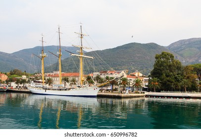 MONTENEGRO - SEPTEMBER 26, 2011:  Sailing ship in Kotor bay (Boka Kotorska)