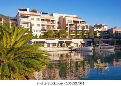 Montenegro, Tivat city. View of Porto Montenegro Village on sunny day