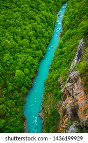 Montenegro, View above azure waters of tara river stream course flowing through green unspoiled nature landscape of majestic tara canyon perfect location for adrenaline sports like rafting