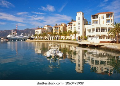 Montenegro. View of embankment of Tivat city on sunny autumn day