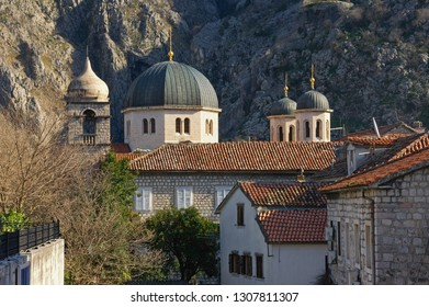 Montenegro. View of Old Town of Kotor,  UNESCO World Heritage Site. Sunny winter day. Domes of St. Nicholas Church