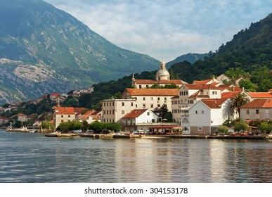 Montenegro. View of Prcanj city from the sea.