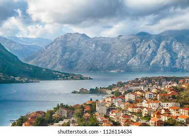 Montenegro. View from the top of the mountain to Kotor Bay.