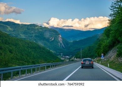 MONTENEGRO, ZABLJAK  - MAY 29/2017: tourists travel on the mountain roads of Montenegro by car.