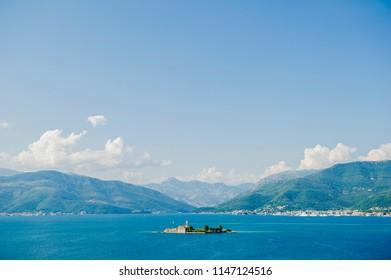 Montenegru.Boka Kotor Bay.08.07.2018. Island of Saint George in Boka Kotor Bay near Perast city in Montenegro 08.07.2018
