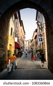 Montepulciano / Italy - august 11 2009: Beginning of the main street of Montepulciano, Tuscany.