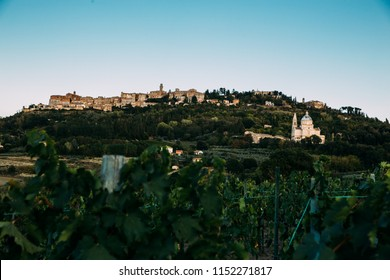 Montepulciano, ITALY - JSEPTEMBER 23, 2017: Tourists visiting the beautiful Montepulciano, Province of Siena, Tuscany.