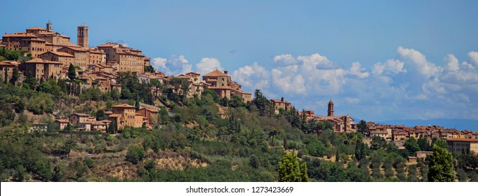 Montepulciano, Italy - July 7 2017: The Tuscany small town Montepulciano at the hilltop.