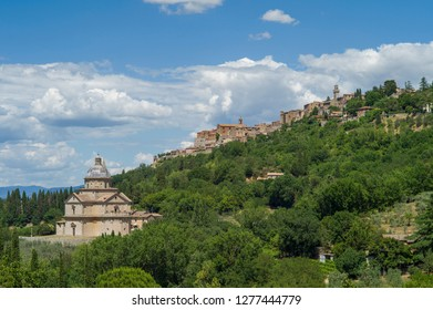 Montepulciano, Italy - July 7 2017: The Church of San Biagio at the down hill of Montepulciano.