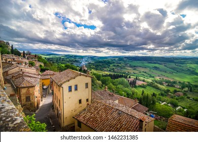 Montepulciano, Italy May, 19, 2017, Panorama view from Montepulciano  to the landscape of Tuscany