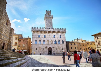 Montepulciano, Italy - MAY 5, 2017: Palazzo Comunale (Town Hall) in Piazza Grande, Antique Montepulciano town, Tuscany