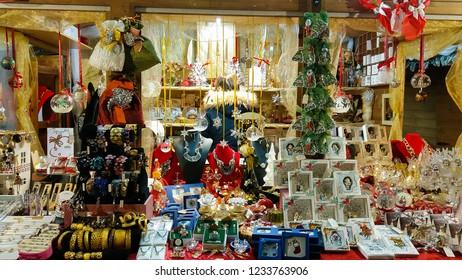 MONTEPULCIANO, ITALY - NOVEMBER 18, 2018: Christmas market in the historic center of Montepulciano, Italy