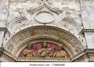 Montepulciano, province of Siena, Tuscany, Italy, Europe - detail of the facade of a church with marble sculpture in the city center