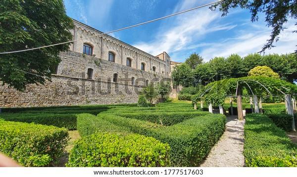 Montepulciano, Siena, Italy - July 15 2020: Medieval Medici Fortress of Montepulciano, Tuscany.