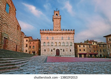 Montepulciano, Siena, Tuscany, Italy: the main square of the picturesque ancient town with the medieval city hall recalling the Palazzo della Signoria of Florence