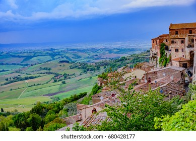 "MONTEPULCIANO, TUSCANY - APRIL 29, 2017 -   Panorama of the city of Montepulciano in Siena in Italy, famous for the wine ""Nobile"""