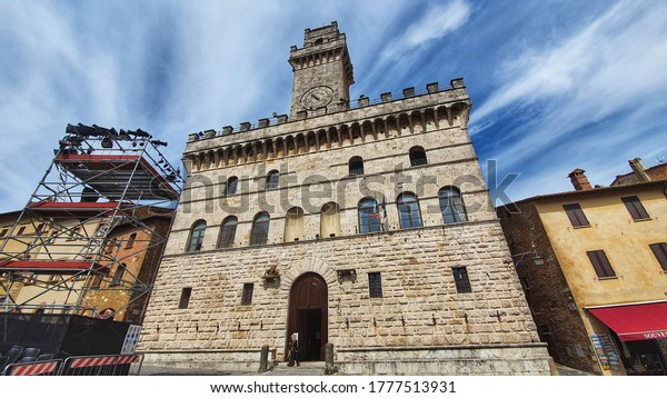 """Montepulciano, tuscany, Italy - July 15 2020: """"Palazzo Comunale"""" is a Renaissance building in Piazza Grande of Montepulciano."""