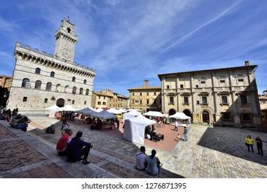 Montepulciano, Tuscany, Italy - September 09, 2018: Montepulciano Old Town - Piazza Grande at Day