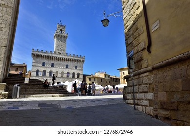 Montepulciano, Tuscany, Italy - September 09, 2018: Montepulciano Old Town - Town Hall on Piazza Grande