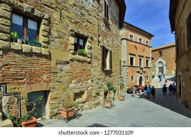Montepulciano, Tuscany, Italy - September 09, 2018: Montepulciano Old Town Alley at Day