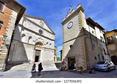 Montepulciano, Tuscany, Italy - September 09, 2018: Montepulciano Old Town - Saint Agostino Church