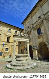 Montepulciano, Tuscany, Italy - September 09, 2018: Montepulciano Old Town - Piazza Grande - Palazzo del Capitano