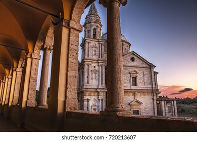 Montepulciano, Tuscany, Italy - september 16, 2017: San Biagio Cathedral, the sunset view from Canonica