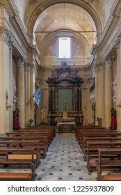 MONTEPULCIANO,ITALY - SEPTEMBER 20,2018 - Interior church of Saint Lucy in  Montepulciano. Montepulciano is a medieval and Renaissance hill town and comune in the southern Tuscany.