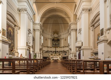 MONTEPULCIANO,ITALY - SEPTEMBER 20,2018 - Interior church of Saint Agostino in  Montepulciano. Montepulciano is a medieval and Renaissance hill town and comune in the southern Tuscany.