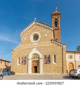 MONTEPULCIANO,ITALY - SEPTEMBER 20,2018 - View at the church of Saint Agnes in Montepulciano. Montepulciano is a medieval and Renaissance hill town and comune in the southern Tuscany.