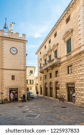 MONTEPULCIANO,ITALY - SEPTEMBER 20,2018 - View at the Clock tower Pulcinella in Montepulciano. Montepulciano is a medieval and Renaissance hill town and comune in the southern Tuscany.