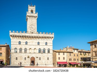 MONTEPULCIANO,ITALY - SEPTEMBER 5,2020 - Town hall at the Piazza Grande (Great place)in Montepulciano.Montepulciano is a medieval and Renaissance hill town and comune in Italy.