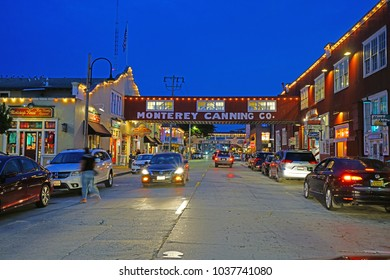 MONTEREY, CA -4 SEP 2017- Night view of the landmark Cannery Row, a commercial waterfront street that used to have sardine canning factories in Monterey, California.